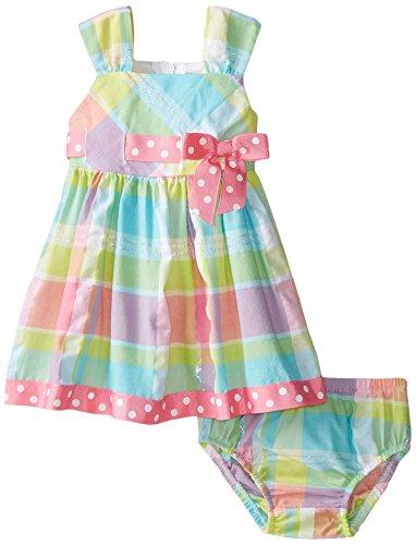 Bonnie Baby Baby-Girls Newborn Seersucker Pull Thru Dress, Pink, 0-3 Months