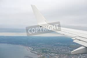 Sky, Cloud And Aerial View of the city seen from Window of Airplane.(81858423), lino, 120 x 80 cm