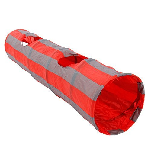 PAWZ Road Pet Toys Cat Tunnel Dog Tube Collapsible Cat Teaser Hide and See Pipe Red and Grey 2 Peek Holes