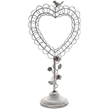 Large Rustic White Metal Vintage Heart Shaped Wreath Standing Greeting Card Holder with Bird and Rose Accents