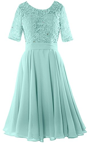 MACloth Women Half Sleeve Lace Formal Gown O Neck Midi Mother of the Bride Dress Aqua 70v2fXa7