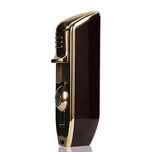 Triple Torch Jet Flame Gloss Finish Cigarette Cigar Lighter W/Punch (Red) ()