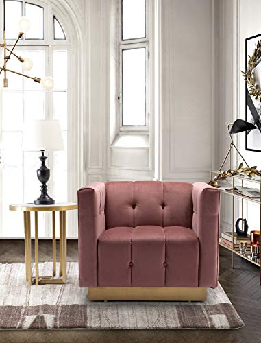 (Iconic Home Willow Accent Club Chair Velvet Upholstered Channel-Quilted Button Tufted Cushion Shelter Arm Design Gold Tone Metal Base, Modern Contemporary, Rose)