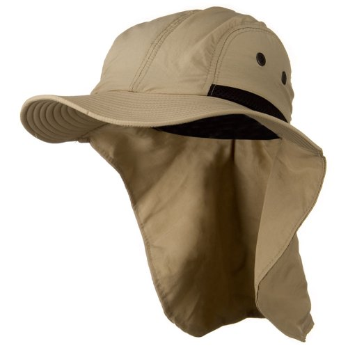 Mesh Sun Protection Flap Hat - Khaki OSFM (Flap E4hats Mesh Hat)