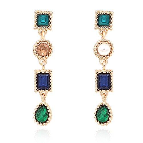Hanloud Green Blue Crystal Geometric Dangle Earrings Multi Color Crystal Pearl Stud Earrings for Women