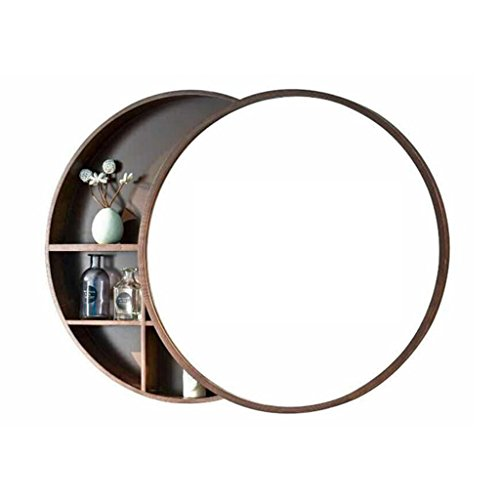 Bathroom mirror Round Wall Mirror for Cabinet Push-pull Lockers Walnut Wood 5050cm