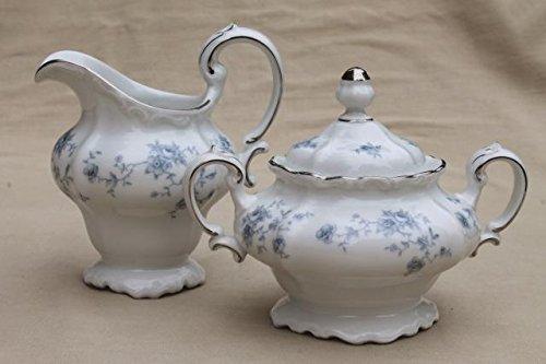 johan haviland blue garland sugar bowl and creamer set. new with box