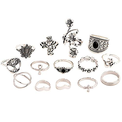 TraveT 14pcs Women Knuckle Ring Set Bohemian Flower Carved Stackable Rings Vintage Punk Midi Finger Ring Set Party Jewelry