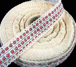 (3 Yds Christmas Vintage Lacey Lace Poinsettia Craft Ribbon 1 1/4