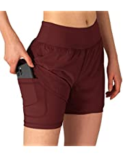 Gopune Women's 2 in 1 Running Shorts Workout Athletic Gym Yoga Shorts for Women with Phone Pockets