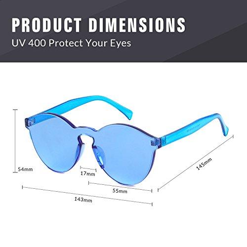 colores sol pieza de Gafas de una sol Gafas montura transparentes de ADEWU Azul sin 1 de cEaqBz7fw0