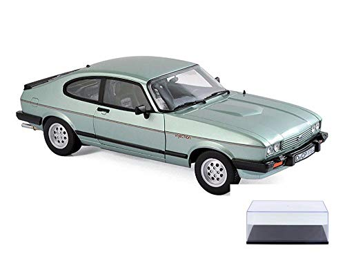 1982 Ford Car - Norev Diecast Car & Display Case Package - 1982 Ford Capri MK.III 2.8 Injection Coupe, Light Green Metallic 182719 - 1/18 Scale Diecast Model Toy Car w/Display Case