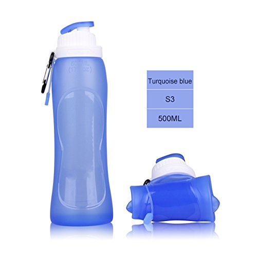 HAMSWAN 500ml Water Bottle Bpa Free Silicone Foldable Bottle with Hook [Leakproof, Heatproof, Portable, Semi-Transparent] for Outdoor Sports (17OZ)- Blue