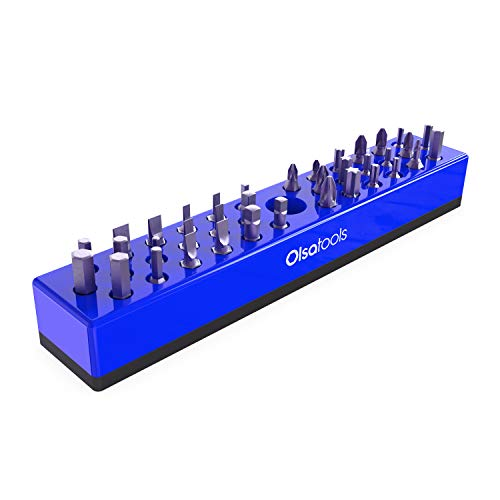 Olsa Tools | Hex Bit Organizer with Magnetic Base | Premium Quality Hex Bit Holder for Your Specialty, Drill or Tamper Bits (Blue)