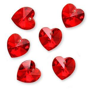 6 Swarovski Crystal Heart (Swarovski Crystal, #6228 Heart Pendants 10mm, 6 Pieces, Light Siam AB)