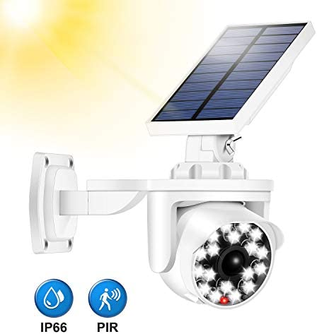 Ralehong Solar Motion Sensor Light Outdoor,Bionic Security Camera,Sunblast Spotlight,IP66 Waterproof,18 LED 4400mA 8W 360 Rotatable for Garden,Garage,Pathway,Portable Emergency Lighting White-18LED