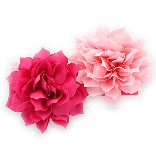 My Lello Toddler/LIttle Girls Fabric Petal Flower Headbands 2 Pack (Hot Pink/Light Pink)