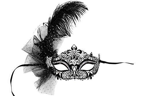 (Success Creations Jillian Laser-Cut Metal Black Venetian Women's Masquerade Mask w/Plume and Net)