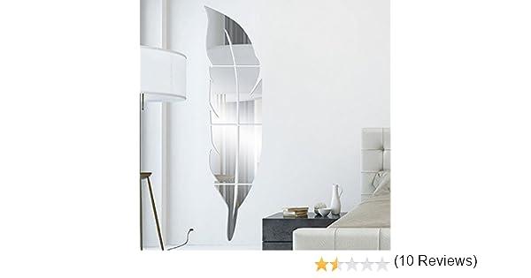 Anself - Pegatina de acrílico del efecto de espejo para pared armario, en forma de pluma, diy kit para la decoración de pared armario: Amazon.es: Hogar