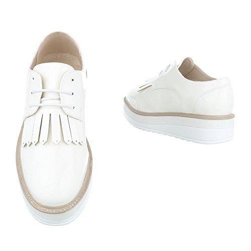 Ital Zapatos Weiß Design Planos Mujer con Cordones rr0zwq