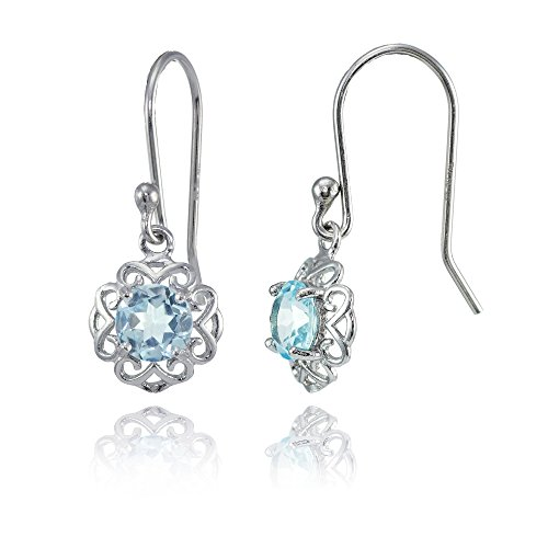 Sterling Silver Blue Topaz Round Filigree Dangle Earrings