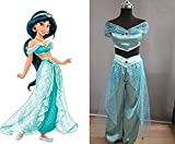 Beauty GO Womens Girls Adults Jasmine Princess Dress up Halloween Cosplay Party Costume (S, Light blue)