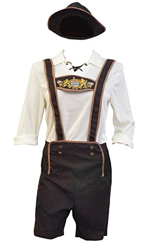 BSLINGERIE Mens Halloween Costume Beer Bavarian Guy Set (M, Beer Bavarian Guy) (Sequin Sailor Costume Hat)