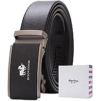 BISON DENIM Men's Ratchet Genuine Leather Dress Belt with Automatic Buckle