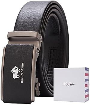 BISON DENIM Men's Ratchet Genuine Leather Dress Belt