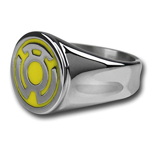 DC Comics Green Lantern Stainless Steel Yellow Enamel Inlay Sinestro Corps Fear Ring (12)