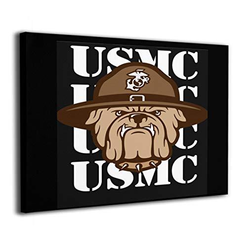 Pksistcol American Army USMC Marine Corps Bulldog Canvas Painting Frame 16x20 Wall Modern Art Decor Black Ink Usmc Bulldog