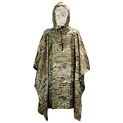 HYOUT Lightweight Military Camo Hooded Rain Poncho,Waterproof PU Camouflage Ripstop Rain Poncho Coat for Outdoor Camping Hunting Hiking Fishing Travel Survival for Men and Women