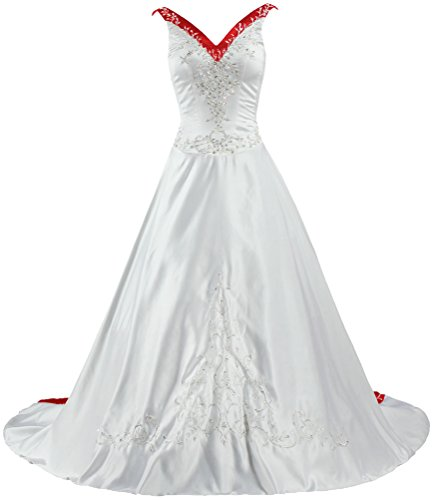 ANTS Women's V Neck Satin Wedding Dress Embroidery Bridal...