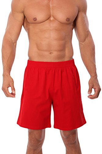 100% Cotton Basic Short - Men's American Made Classic Cotton Pocket Shorts Red