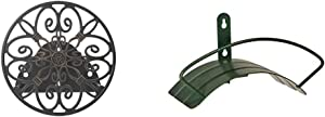 Liberty Garden Products 670 Wall Mounted Decorative Hose Butler, Black & Yard Butler Deluxe Heavy Duty Wall Mount Hose Hanger Easily Holds 100' of 5/8' Hose Solid Steel Extra Bracing