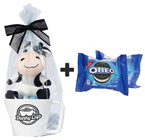 Dunky Cup, Oreo Cookies and Stuffed Cow Toy Gift Set - Cellophane Wrapped with Bow