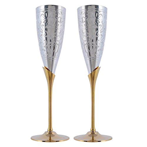 Craft Trade German Silver Embossed Wine Glass Set of 2 with Red Velvet Box for Return Gift/Wedding/Housewarming/Kitchen/Party/Lounge