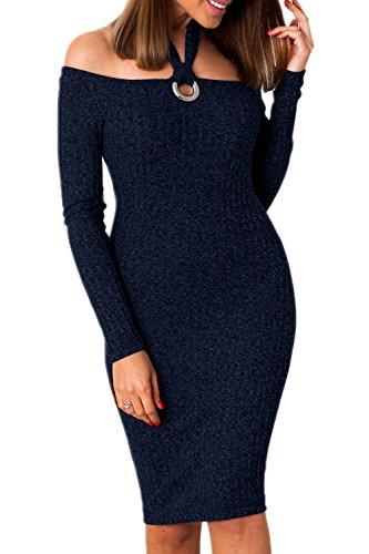 De Etelet Las Bodycon Punto Caliente Mujeres Hollow Off Darkblue Out Plain Vestido Halter Elegantes Shoulder YPwCpxrPqg