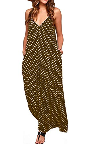 OURS Women's Casual Sleeveless V Neck Polka Dots Spaghetti Strap Summer Long Maxi Dresses with Pockets (K, M)