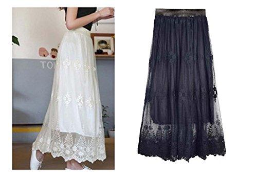 queenneeup Women's Flower Crochet Long Skirts Mesh Skirts (Black)