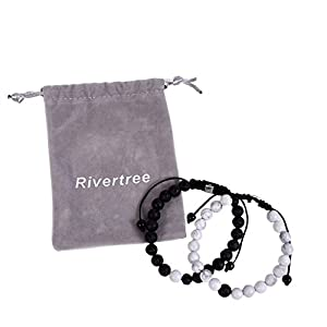 Black Lava Rock White Howlite beads with Braided Rope Adjustable – Distance Bracelets Couples Relationship Best Friend Set of 2