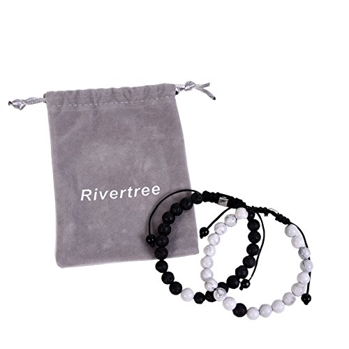 Black Lava Rock White Howlite beads with Braided Rope Adjustable Set of 2 - Distance Bracelets for Couples and Best Friend (Best Friend Distance Bracelets)
