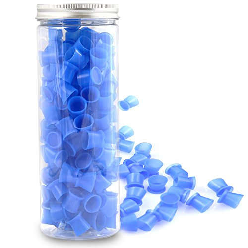Tattoo Ink Caps Cups - UNIQUE2U 130Pcs/box blue Tattoo Ink Cups With Base,Tattoo Kits,Tattoo Supplies (#13 - Kit Mixing Ink