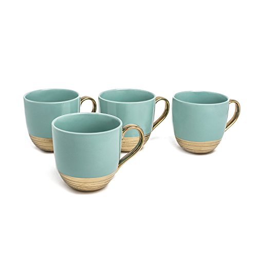 Yedi YCC715, 24 Oz Embossed Collection Porcelain Mugs, Ceramic Aqua Gold Cups, Bone China Tea Cups, Set of 4