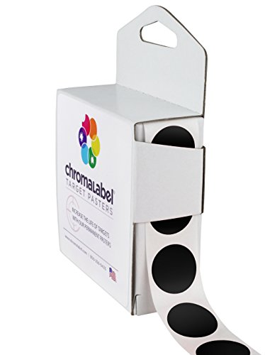 ChromaLabel Round Target Pasters | 1,000/Dispenser Box (3/4 Inch, Black)