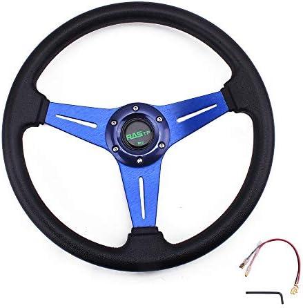 RASTP Universal Racing Steering Wheel 13.8\u201d/350mm 6 Bolts Grip Vinyl Leather & AluminumHorn Button for Car - Blue