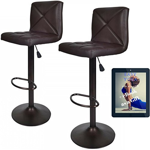 Price comparison product image United Family Shop Vintage Bar Stools With Back Set of 2 Brown PU Leather 24 Inch to 32 Inch Modern 360 Degree Adunited Ajustable Swivel Seat Barstools Hydraulic Chair 2 Pcs / Free Gift Yoga eBook by