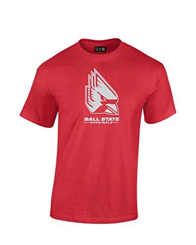 NCAA Ball State Cardinals Mascot Foil Short Sleeve Tee, Medium, Red -