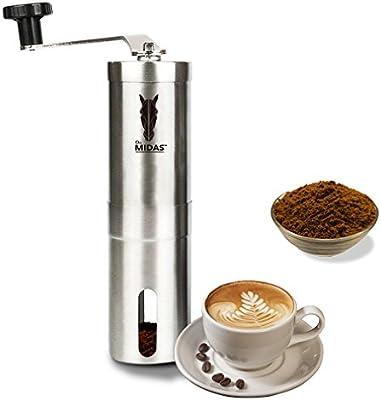 Midas Acero Inoxidable manual Molinillo de café perfecta para viajes, pequeño y Manejable, AeroPress compatible, top Calidad A Precio más pequeños.