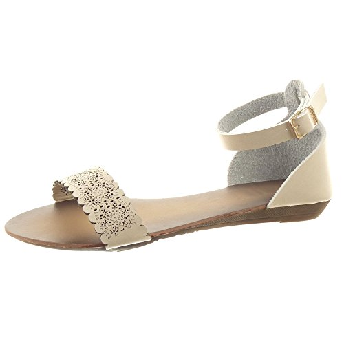 Sopily - Zapatillas de Moda Sandalias Caña baja mujer flores Perforado Hebilla Talón Plataforma 1.5 CM - Beige